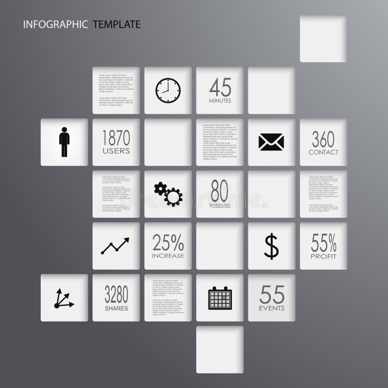 График информации придает квадратную форму темному шаблону элементов иллюстрация штока