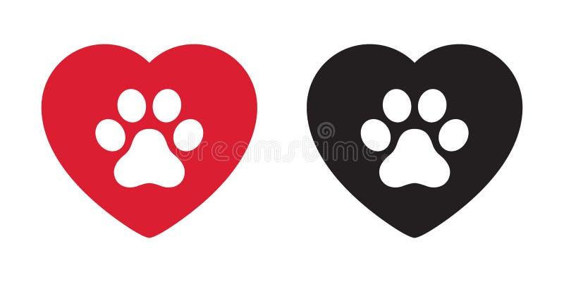 График искусства зажима иллюстрации мультфильма французского бульдога символа Валентайн логотипа сердца значка вектора лапки соба бесплатная иллюстрация