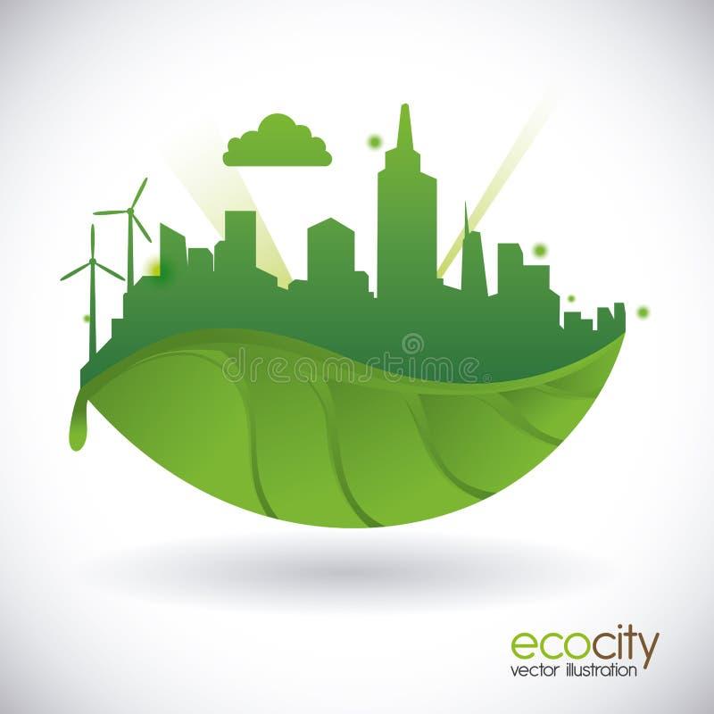 График иллюстрации eps10 вектора дизайна города Eco иллюстрация штока