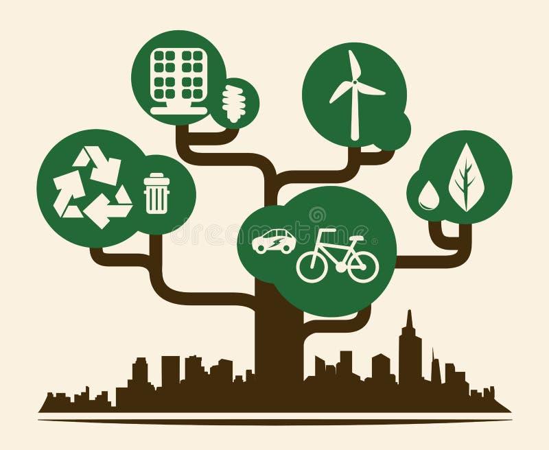 График иллюстрации eps10 вектора дизайна города Eco иллюстрация вектора