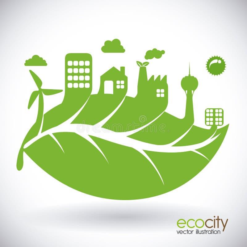 График иллюстрации eps10 вектора дизайна города Eco бесплатная иллюстрация