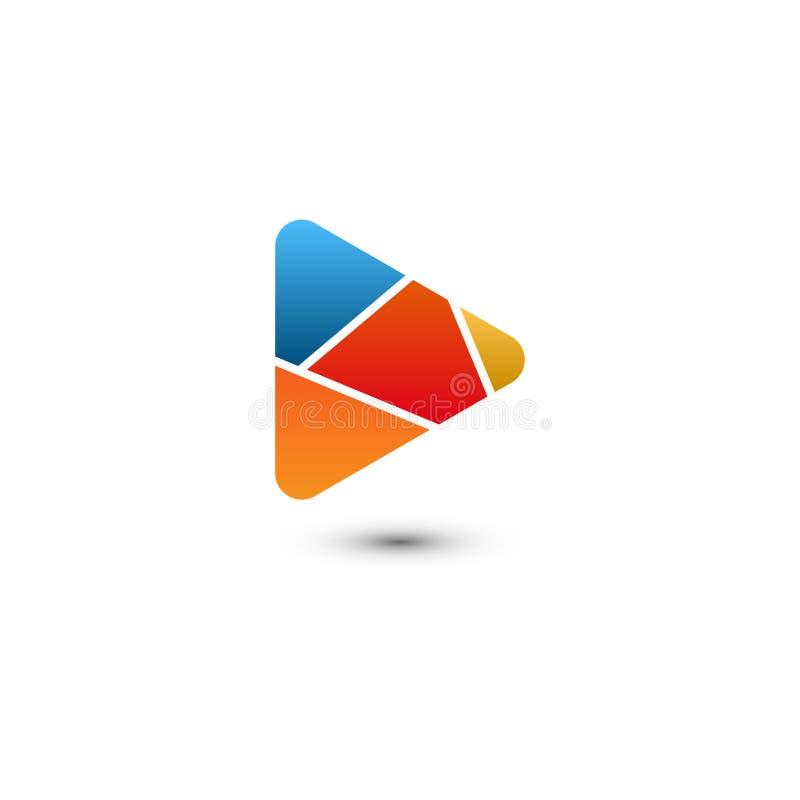 График логотипа мультимедиа кнопки игры иллюстрация штока