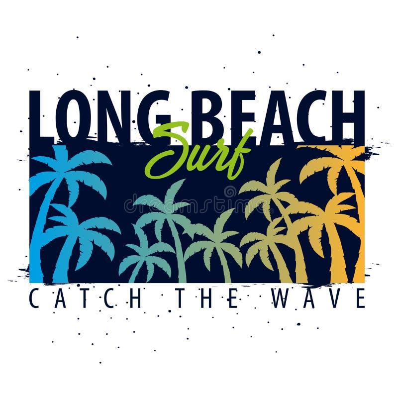 График Лонг-Бич занимаясь серфингом с ладонями Дизайн и печать футболки бесплатная иллюстрация