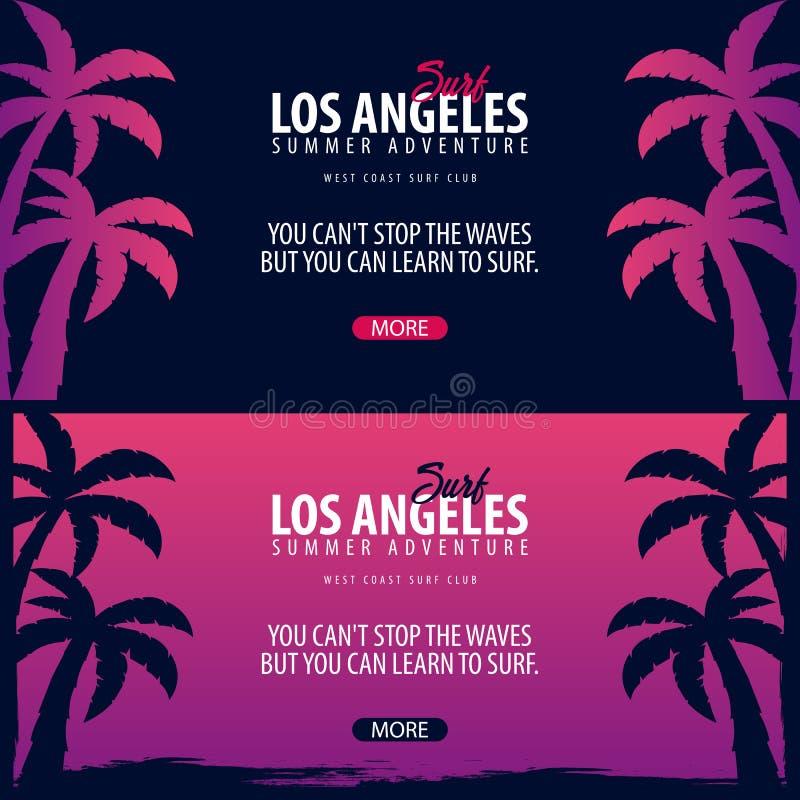 График Лос-Анджелеса занимаясь серфингом с ладонями Знамя вектора клуба прибоя иллюстрация вектора
