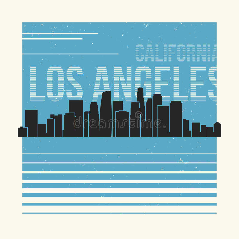 График Лос-Анджелеса, дизайн футболки, печать тройника, оформление, embl иллюстрация штока
