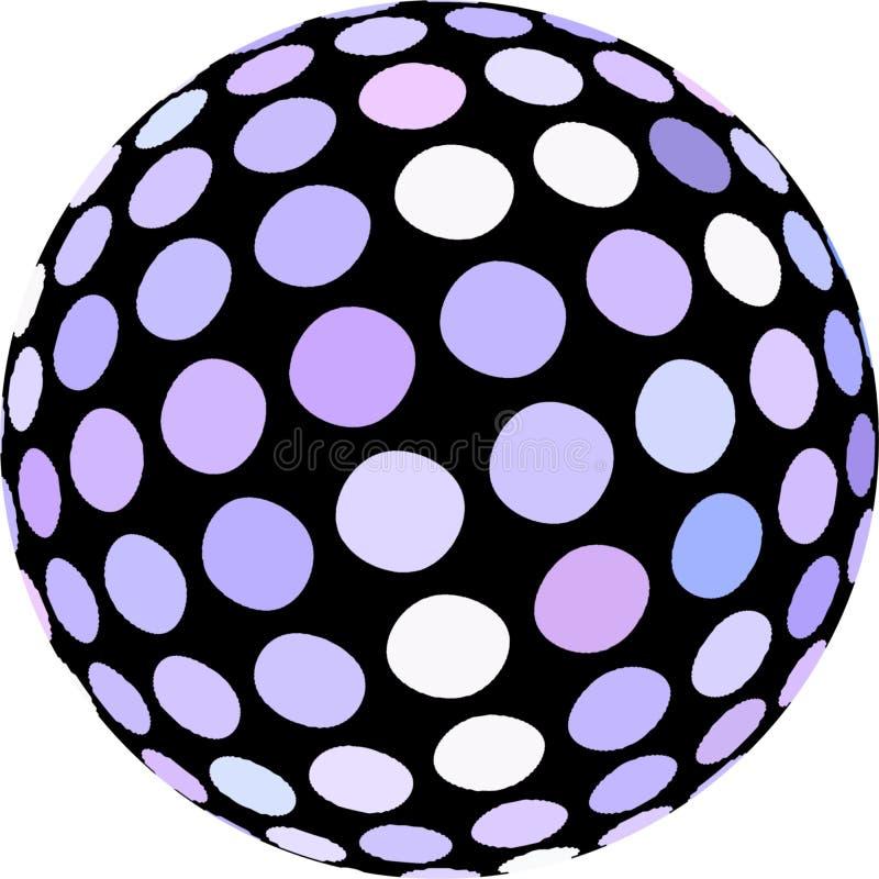 График макроса мозаики сферы 3d изолировал Белые точки польки на черном конце глобуса вверх по объекту иллюстрация вектора
