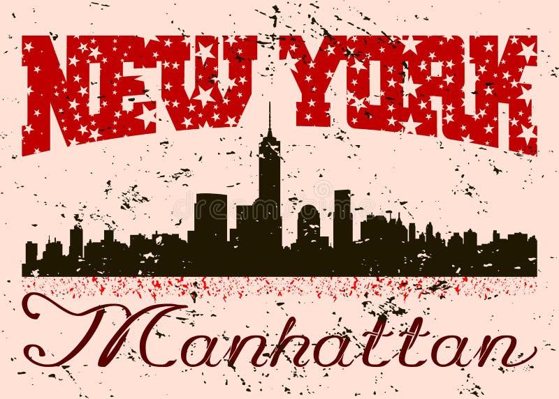 График оформления Нью-Йорка с grunge ретро иллюстрация вектора