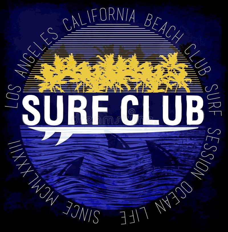 График прибоя Печатание футболки Занимаясь серфингом дизайн бесплатная иллюстрация