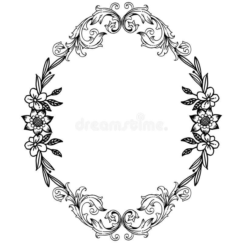 График рамки цветка лист, в черно-белые цвета, богато украшенные различной карты r иллюстрация штока