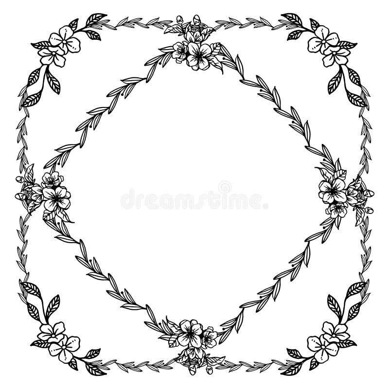 График рамки цветка лист, в черно-белые цвета, богато украшенные различной карты r иллюстрация вектора