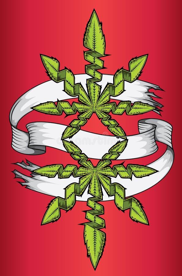 График рекламы дизайна лист зеленого цвета ganja марихуаны конопли иллюстрация штока