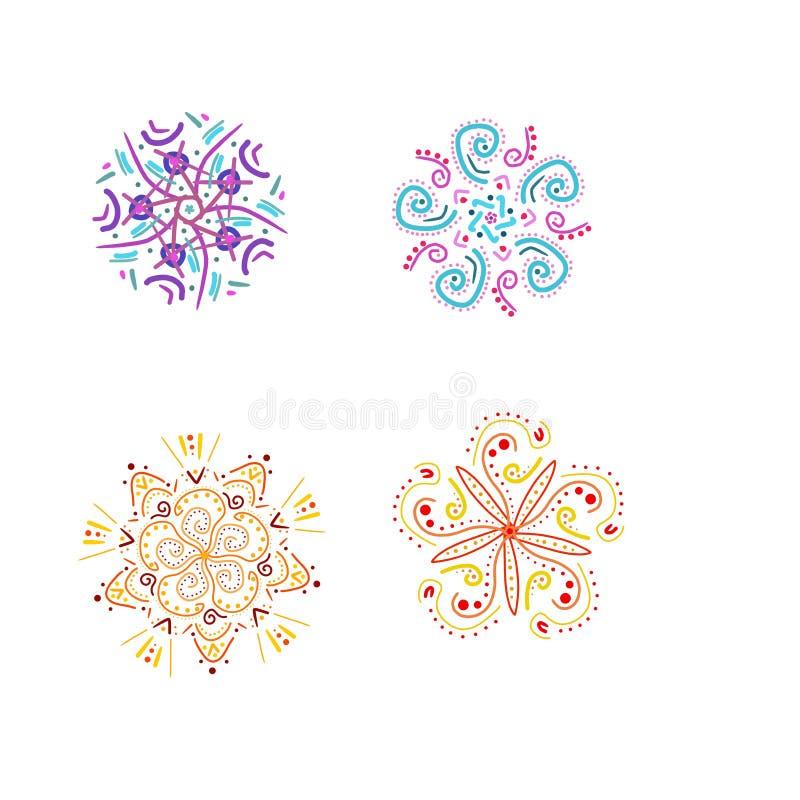 График руки вычерченный элементами мандалы цветка завихрялся изолированными на белизне иллюстрация штока