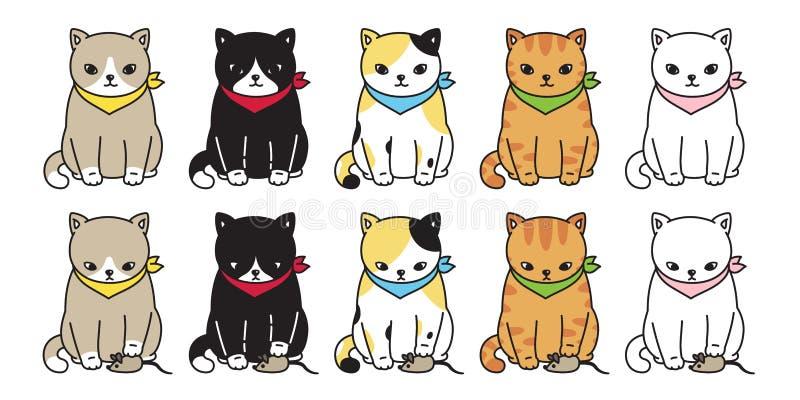 График символа doodle иллюстрации имбиря крысы мыши мультфильма характера логотипа значка ситца котенка вектора кота черный иллюстрация штока
