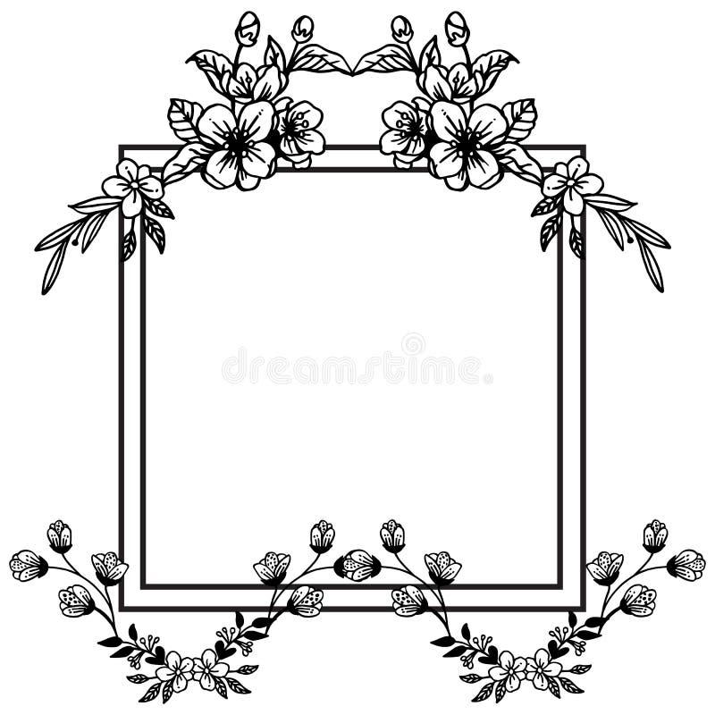 График черно-белой рамки с заводом дизайна рамки лист флористической r иллюстрация штока