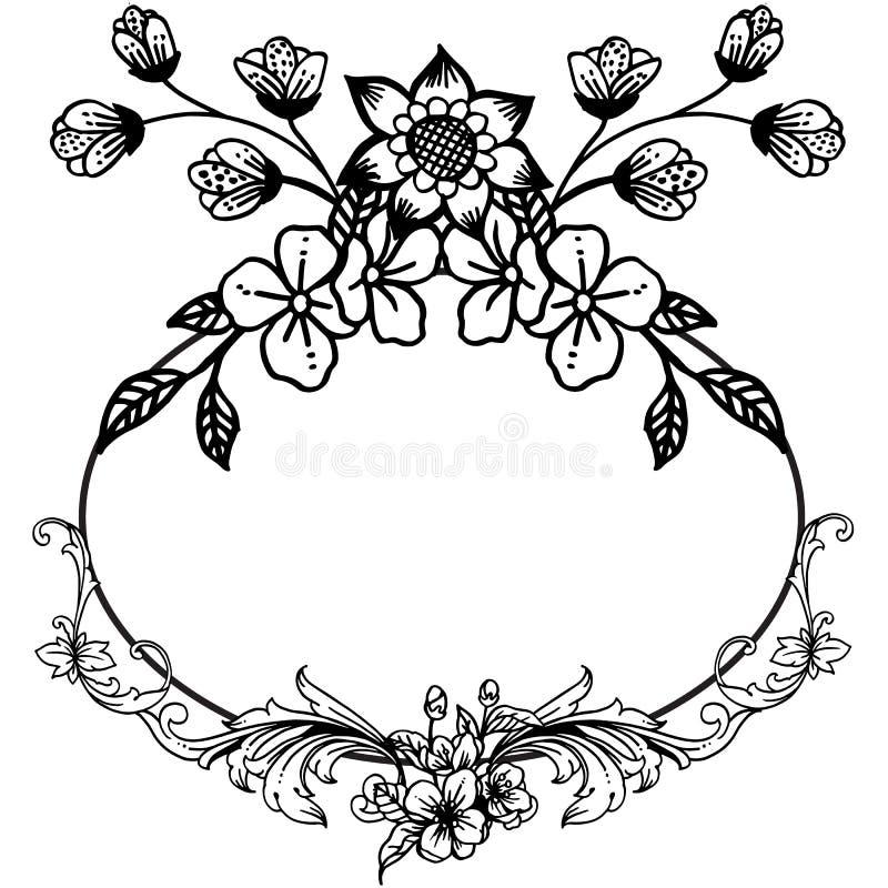 График черно-белой рамки с заводом дизайна рамки лист флористической r бесплатная иллюстрация