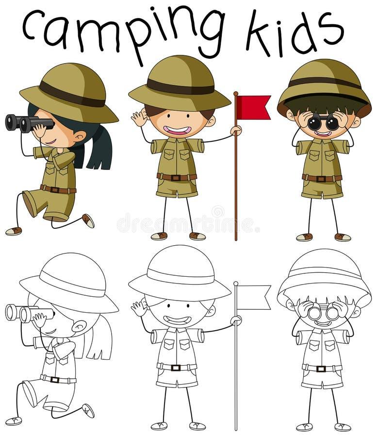 График Doodle располагаясь лагерем детей иллюстрация вектора