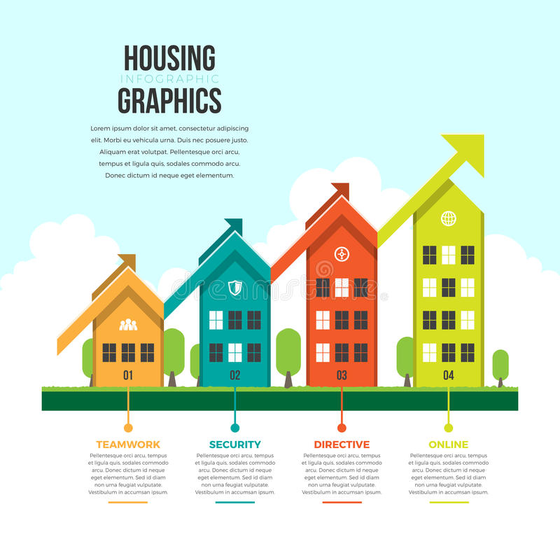 График Infographic снабжения жилищем иллюстрация штока
