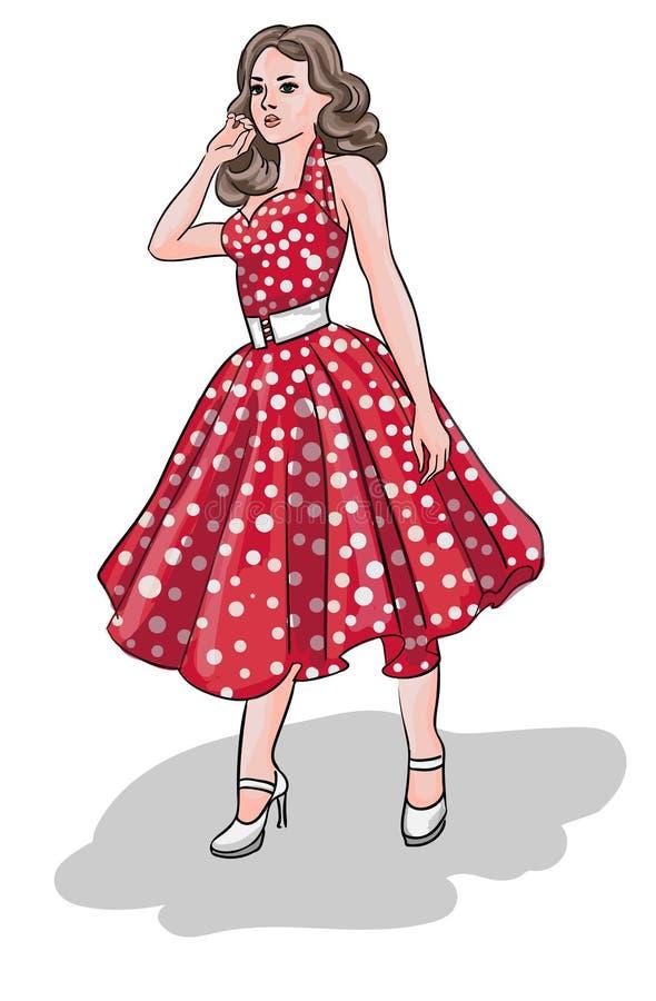 Графическая женщина с красивыми волосами также вектор иллюстрации притяжки corel стоковая фотография