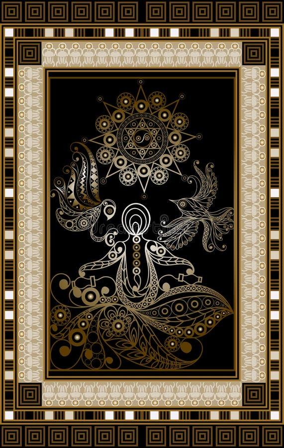 Графическая иллюстрация карточки Tarot 4 иллюстрация штока