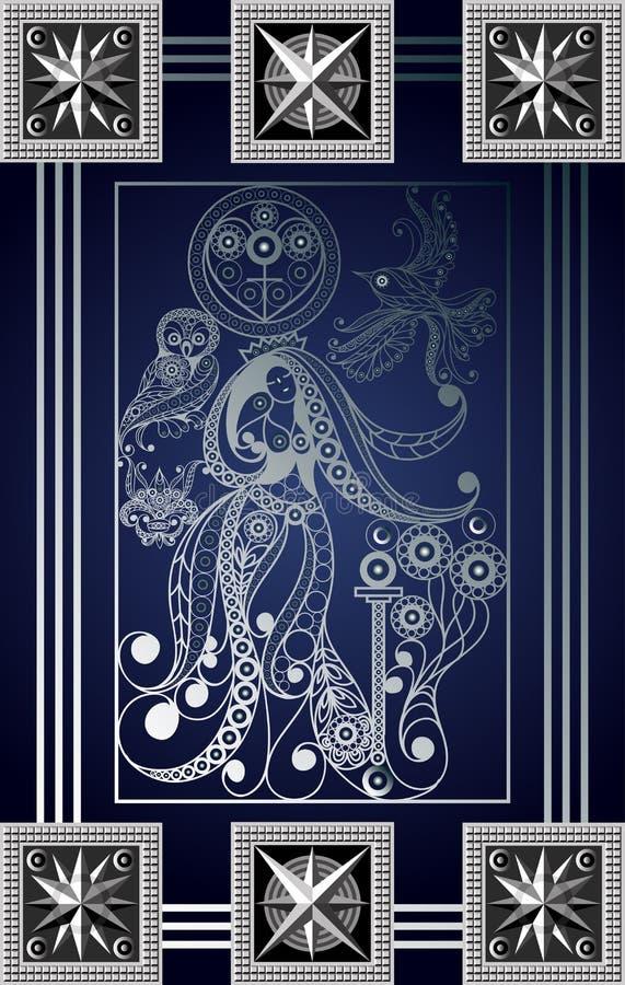 Графическая иллюстрация карточки Tarot 6_2 иллюстрация штока
