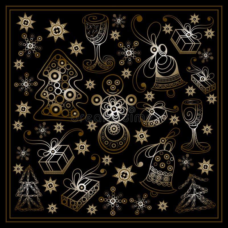 Графическая иллюстрация с декоративными элементами Christmas_set 2 иллюстрация штока