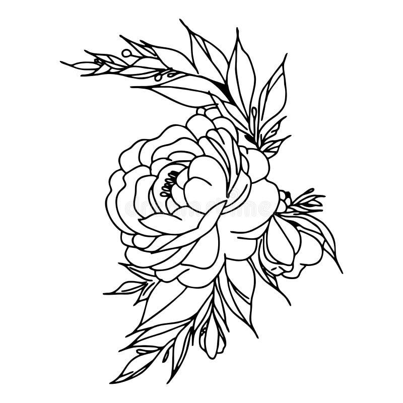 Графическая иллюстрация цветка черный цветок, цветок контура, цветок цветеня, декоративный цветок, цветок изолята иллюстрация вектора