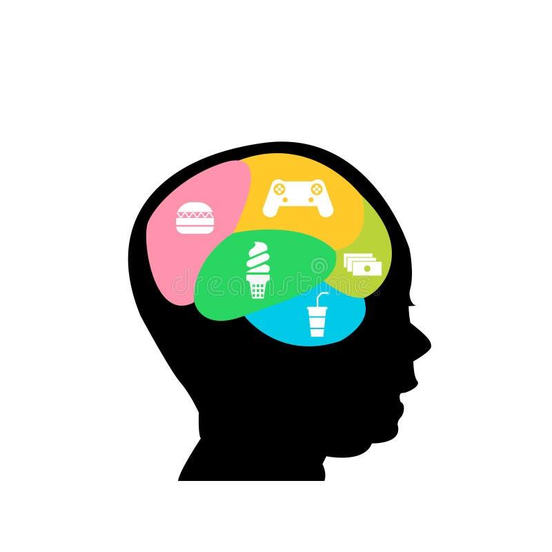 Графическая иллюстрация головы мальчика с игрой мозга и значком высококалорийной вредной пищи иллюстрация вектора