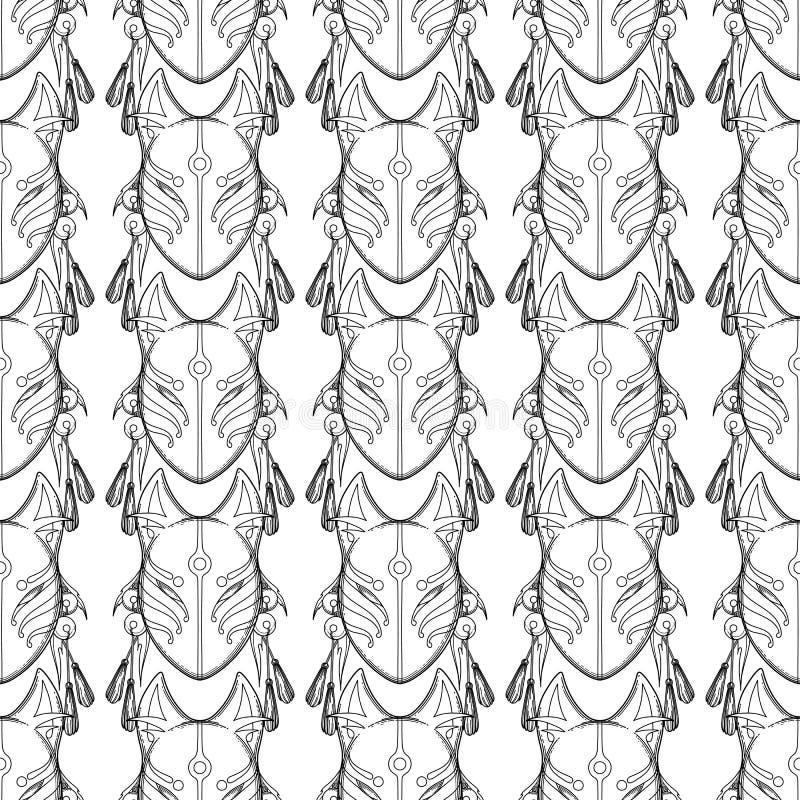 Графическая маска лисы демона иллюстрация вектора
