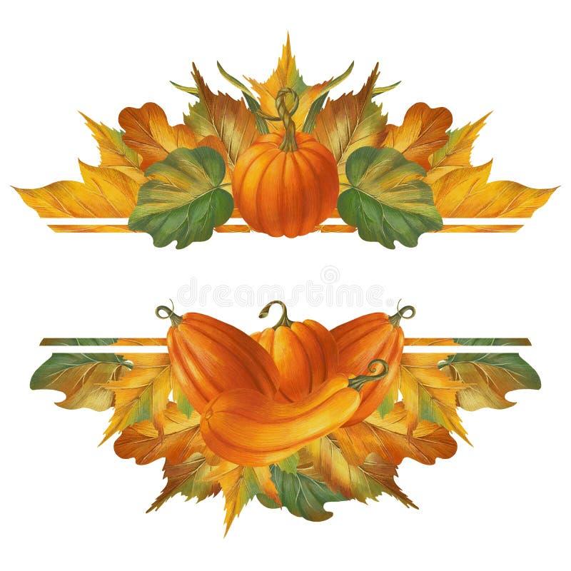 Графическая осенняя рамка в стиле ретро с тыквами и листьями стоковое изображение rf