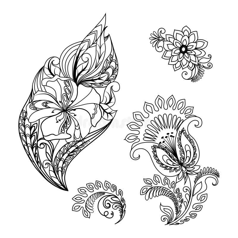 Графические цветочные узоры нарисованные вручную для дизайна иллюстрация штока