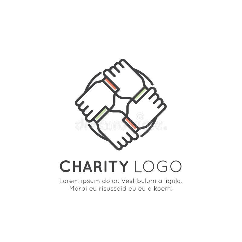 Графические элементы для некоммерческих организаций и центра пожертвования Fundraising символы, ярлык проекта Crowdfunding, логот иллюстрация вектора