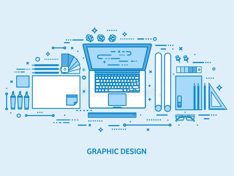 Графический веб-дизайн Чертеж и картина Пользовательский интерфейс UI Приземляясь творение и развитие страницы Плоский голубой пл иллюстрация вектора