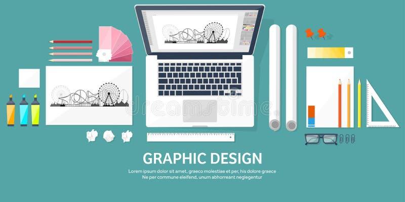 Графический веб-дизайн Чертеж и картина развитие Иллюстрация делая эскиз к и независимая Пользовательский интерфейс UI Компьютер иллюстрация вектора