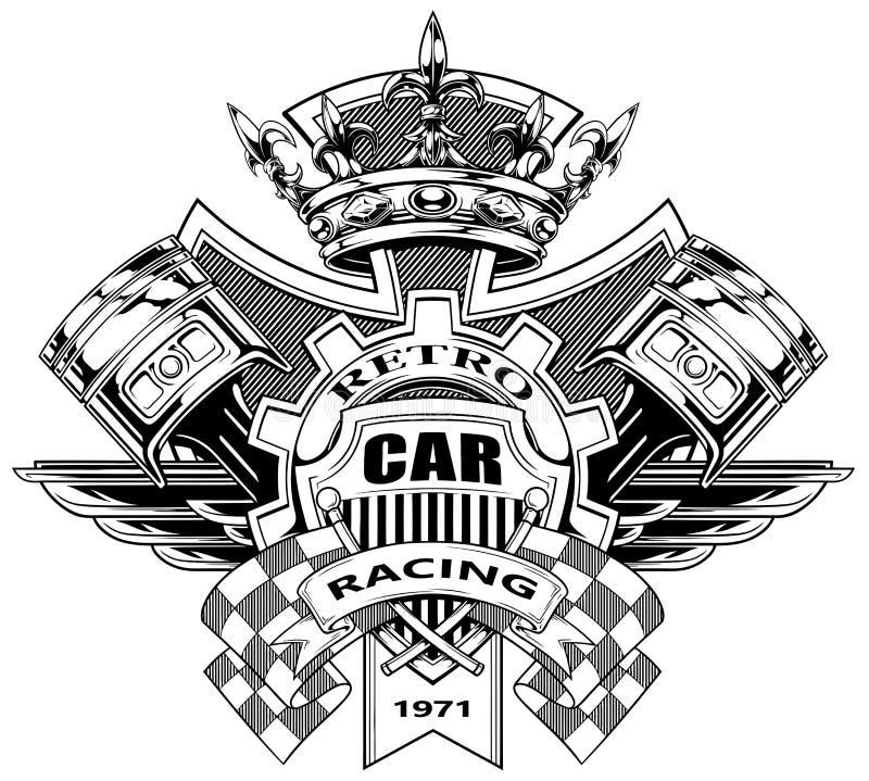 Графический герб с поршенями и флагами гонок иллюстрация вектора