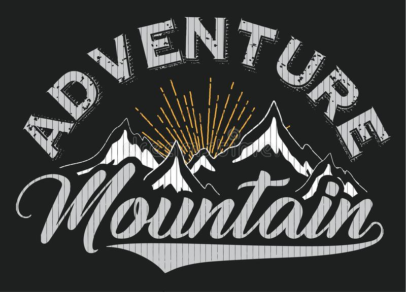 Графический дизайн зимы плаката футболки горы иллюстрация штока