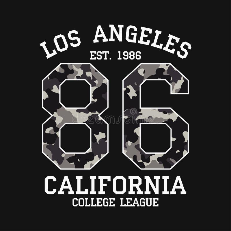 Графический дизайн Лос-Анджелеса для футболки с текстурой камуфлирования Печать футболки Калифорния с лозунгом Оформление одеяния бесплатная иллюстрация