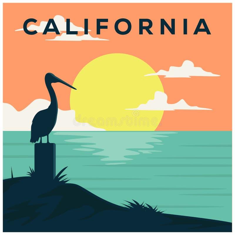 Тропический заход солнца Прибой и пляж Винтажная печать пляжа Графический дизайн тройника бесплатная иллюстрация