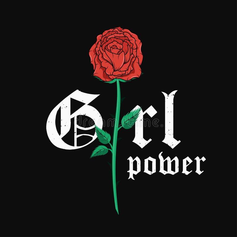 Графический дизайн футболки лозунга с красной розой Ультрамодное женское оформление стиля для печати тройника Лозунг силы девушки бесплатная иллюстрация