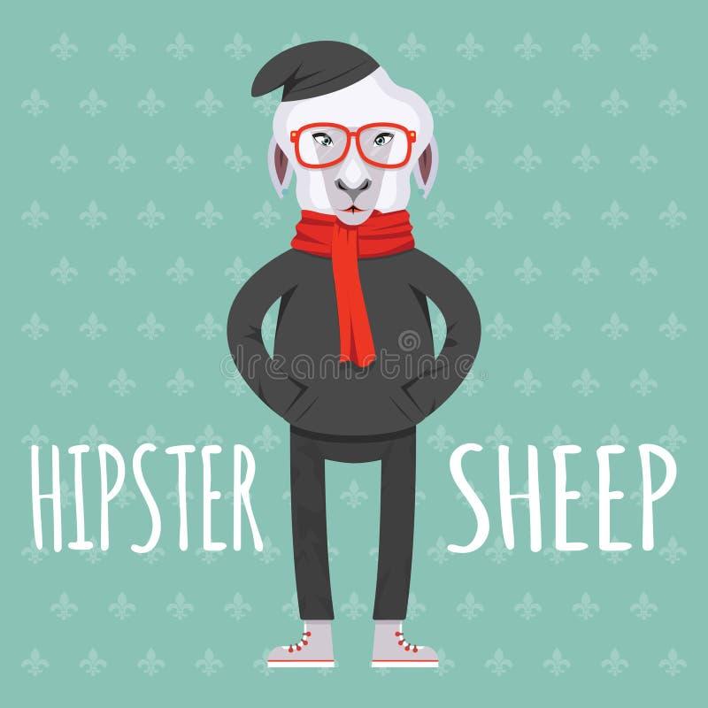 Графический дизайн овец битника Cartooned иллюстрация штока