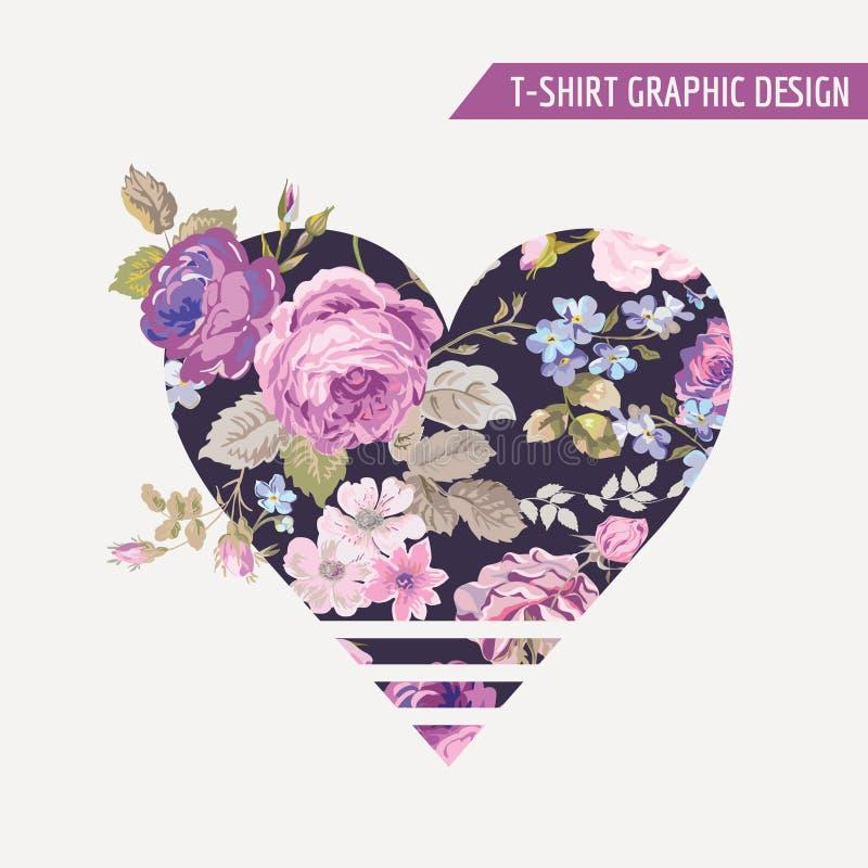 Графический дизайн сердца футболки флористический иллюстрация штока