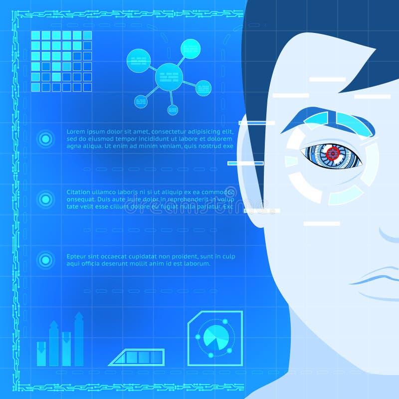 Графический дизайн технологии блока развертки биометрии глаза иллюстрация штока