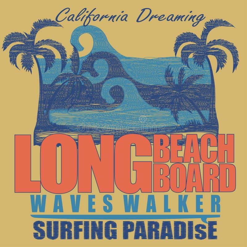 Графический дизайн футболки Лонг-Бич занимаясь серфингом иллюстрация штока