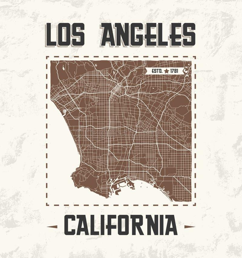 Графический дизайн футболки Лос-Анджелеса винтажный с картой города иллюстрация вектора