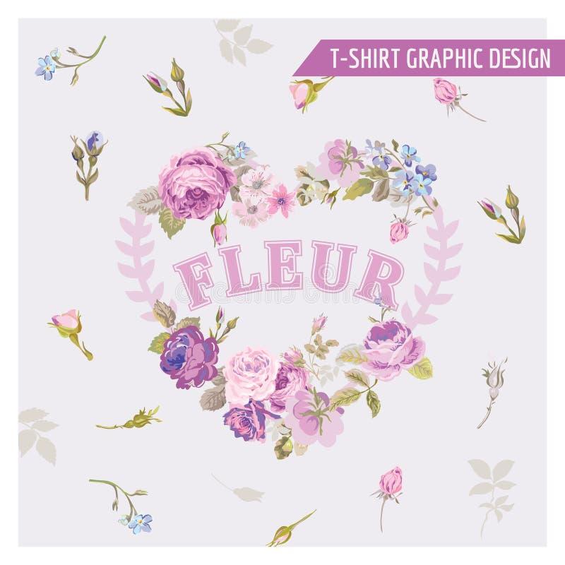 Графический дизайн футболки флористический затрапезный шикарный иллюстрация штока