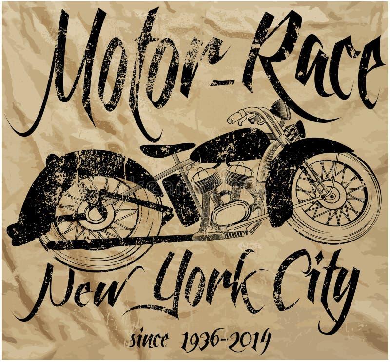 Графический дизайн футболки человека гонки мотоцикла винтажный иллюстрация штока