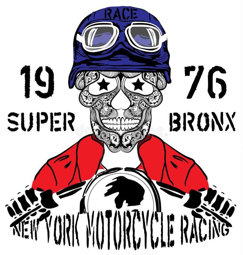 Графический дизайн футболки человека гонок Нью-Йорка мотоцикла черепа иллюстрация штока