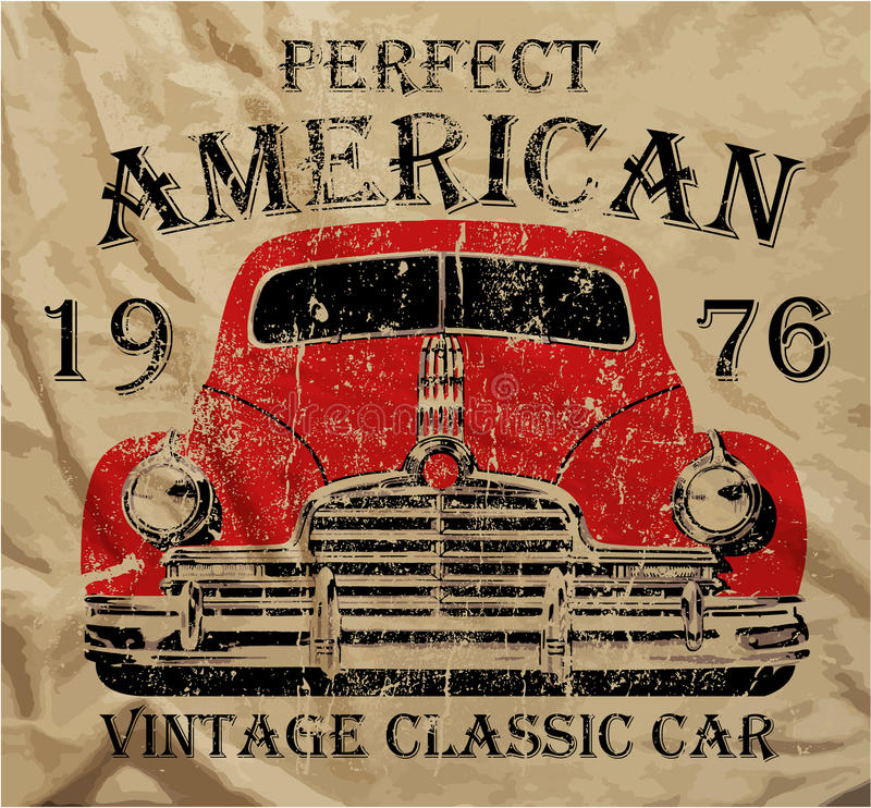 Графический дизайн футболки человека старого американского автомобиля винтажный классический ретро