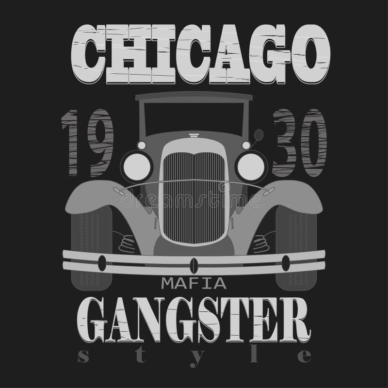 Графический дизайн футболки Chicagol Стиль гангстера иллюстрация вектора