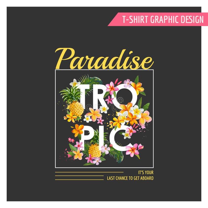 Графический дизайн цветков футболки тропический иллюстрация штока