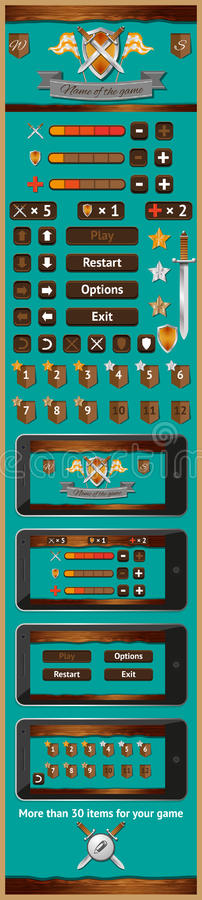 Графический интерфейс пользователя на игры 4 иллюстрация штока